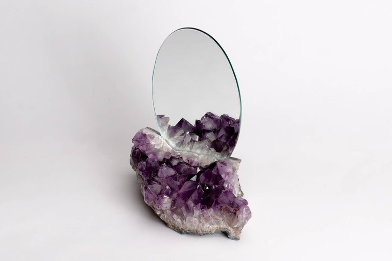 American Aura Mirror by Another Human, Contemporary Crystal Vanity Mirror in Amethyst For Sale