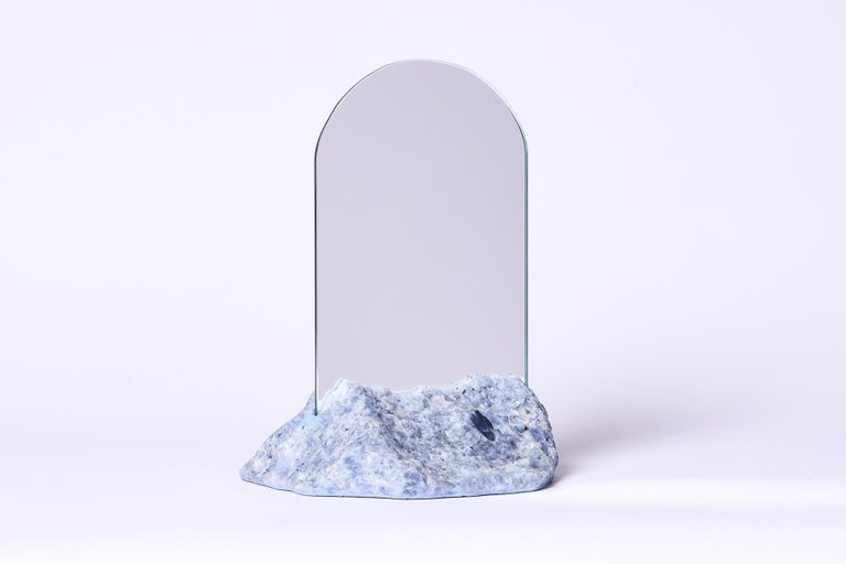 American Aura Mirror by Another Human, Contemporary Crystal Vanity Mirror in Blue Calcite For Sale