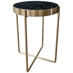 Aura Side Table of Gemstone Coroldite and Brass, Made in Italy