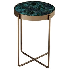 Aura Side Table of Gemstone Crisocolla and Brass, Made in Italy