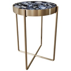Aura Side Table of Gemstone Wild-Black and Brass, Made in Italy