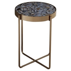 Aura Side Table of Gemstone Wild-Light and Brass, Made in Italy