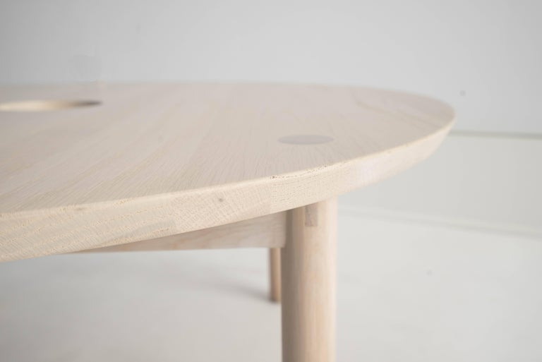 Sun at Six is a Brooklyn design studio. Handcrafted using traditional joinery. Our classic round coffee table. We use exposed tenons throughout.  • Solid white oak • Tung oil finish • Handcrafted with traditional joinery