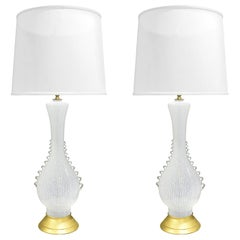 Aureliano Toso Pair of Exquisite Hand Blown Table Lamps, 1950s