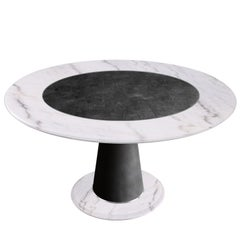 Modern Round Dining Table White Marble Black Scagliola Shagreen Decoration Brass