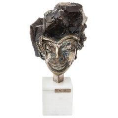 Aurelio Teno Silvered Bronze, Enamel and Quartz Sculpture Vintage Signed
