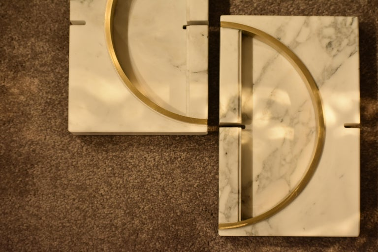 Marble Ashtrays / Vase with detail in Brass designed by Andrea Bonini In New Condition For Sale In Milano, IT