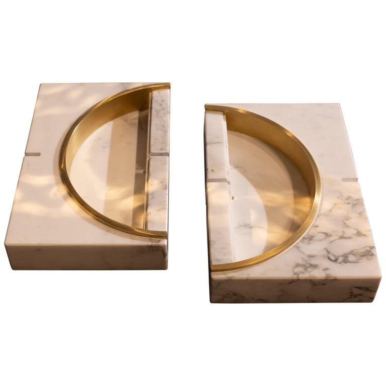 Marble Ashtrays / Vase with detail in Brass designed by Andrea Bonini For Sale