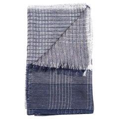 AURO NAVY Soft Linen Handwoven Scarf