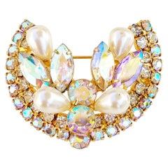 Aurora Borealis Crystal and Pearl Horseshoe Juliana Style Brooch, 1960s