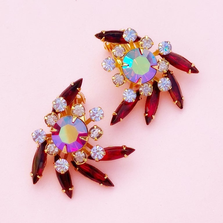 Aurora Borealis & Ruby Red Rhinestone Statement Earrings by Beau Jewels, 1960s In Excellent Condition For Sale In Los Angeles, CA