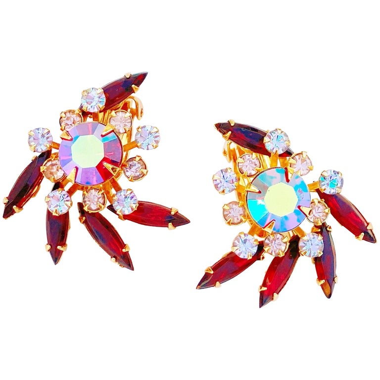 Aurora Borealis & Ruby Red Rhinestone Statement Earrings by Beau Jewels, 1960s For Sale