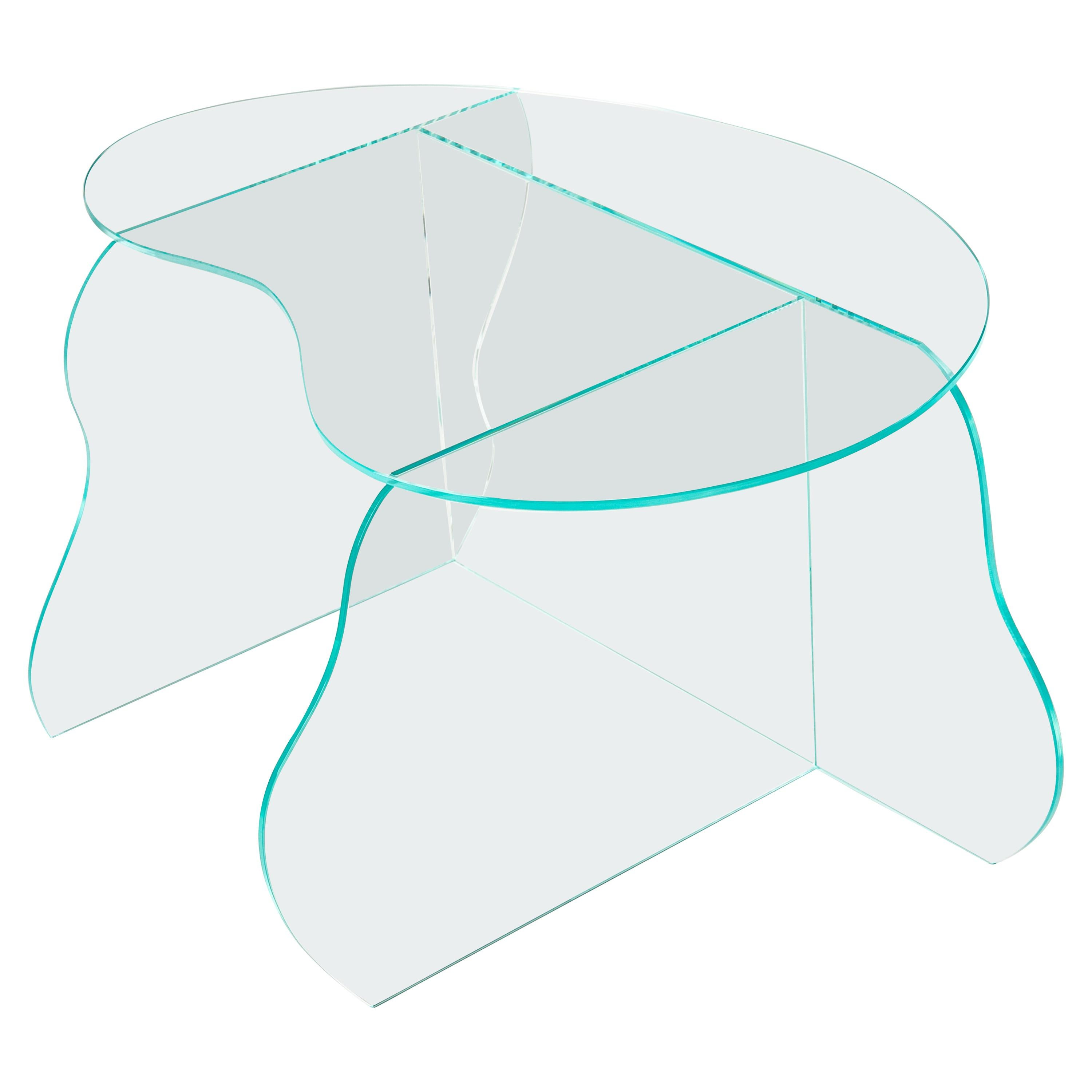 Aurora Clear Glass Table Sculpted by Studio-Chacha