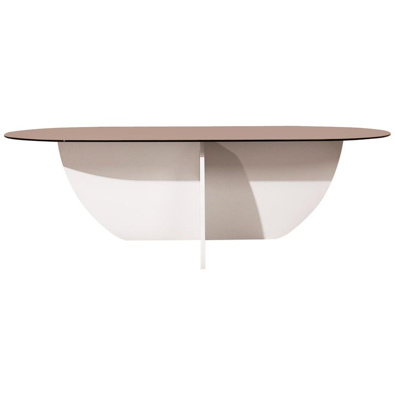 Aurora Dining Table, White Mosaic Base / Bronze Glass For Sale