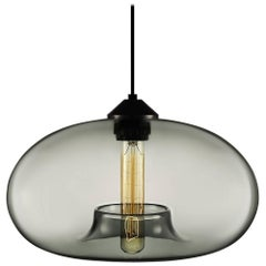 Aurora Gray Handblown Modern Glass Pendant Light, Made in the USA