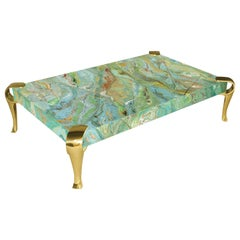 Contemporary Coffee Table Marbled Green scagliola art Top Polished Brass Feet