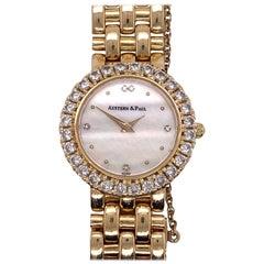 Austern & Paul Ladies Diamond Bezel 14 Karat Yellow Gold Quartz MOP Watch
