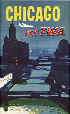 Chicago Fly TWA - Trans World Airline original vintage travel poster