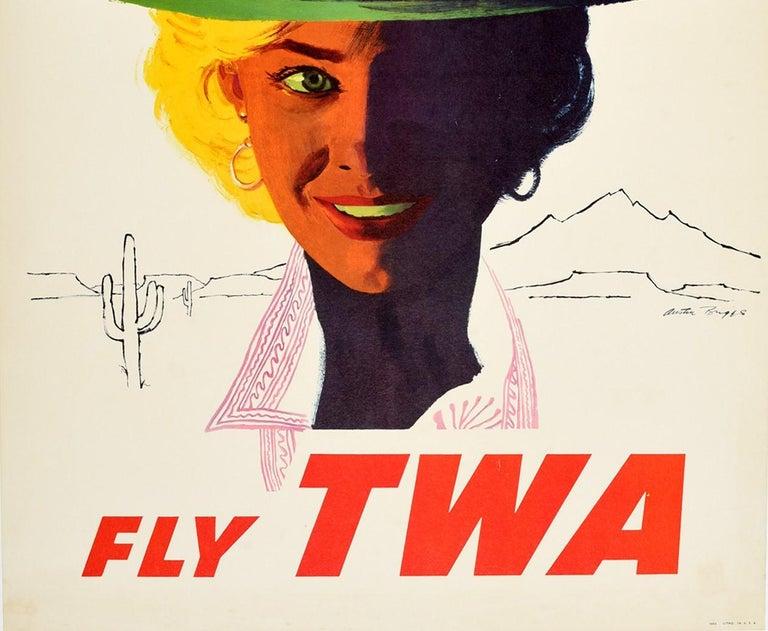 Original Vintage Poster Arizona Fly TWA Travel Advertising Trans World Airlines  - White Print by Austin Briggs