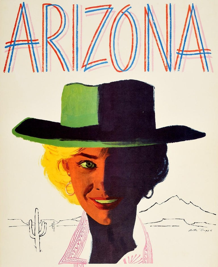 Original vintage travel advertising poster for Arizona Fly TWA featuring a great design by Austin Briggs (1908-1973) depicting a young lady wearing a hat and smiling to the viewer with the outlines of a cactus and mountains in the Arizona desert