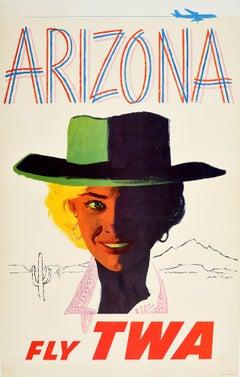 Original Vintage Poster Arizona Fly TWA Travel Advertising Trans World Airlines