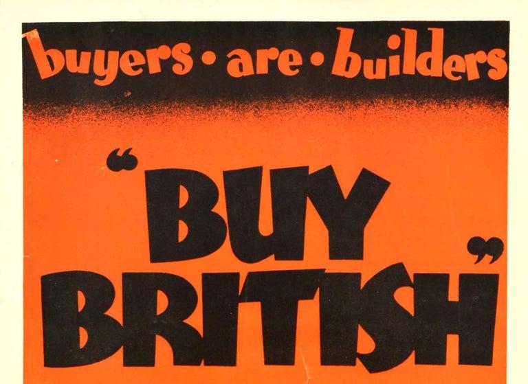Original Vintage Empire Marketing Board Poster Buy British Trade Home & Overseas - Print by Austin Cooper