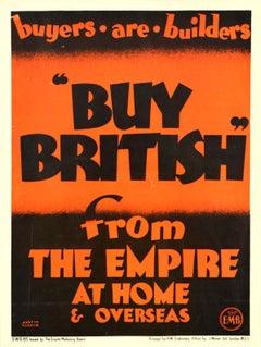 Original Vintage Empire Marketing Board Poster Buy British Trade Home & Overseas