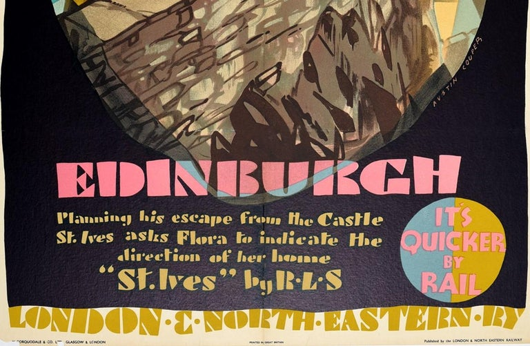 Original vintage railway travel poster - The Booklovers' Britain Edinburgh - issued by LNER / London & North Eastern Railway of England and Scotland featuring a colourful design by one of England's leading poster artists Austin Cooper (1890-1964)