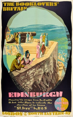 Original Vintage LNERailway Poster Booklovers Britain Edinburgh Castle Stevenson