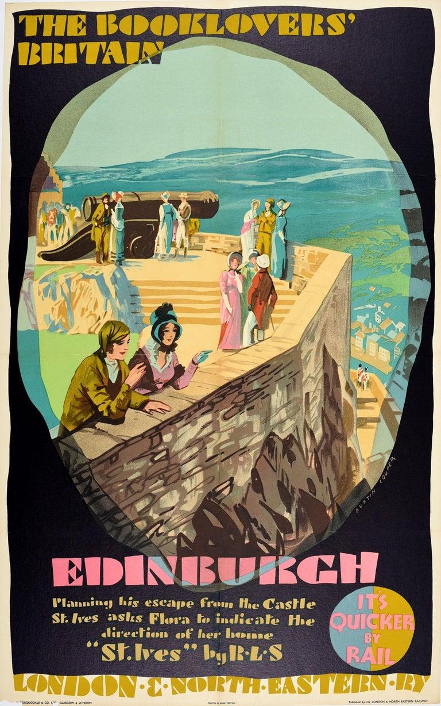 Austin Cooper Print - Original Vintage LNERailway Poster Booklovers Britain Edinburgh Castle Stevenson