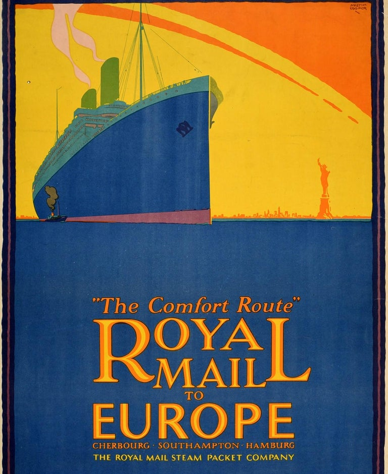 Original Vintage Poster Royal Mail Steamship Europe New York Statue Of Liberty - Purple Print by Austin Cooper
