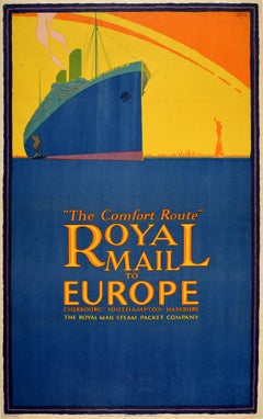 Original Vintage Poster Royal Mail Steamship Europe New York Statue Of Liberty