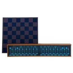 "Austin COX Modernist ""Aloca"" Chess Set with Chessboard"