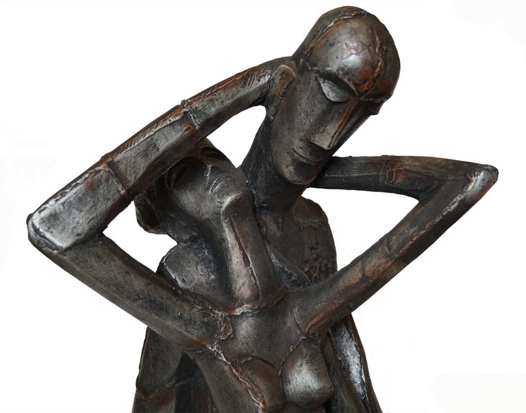 Austin Productions Brutalist Large Sculpture Lovers Man Woman Gothic Frakenstein In Good Condition For Sale In Wayne, NJ