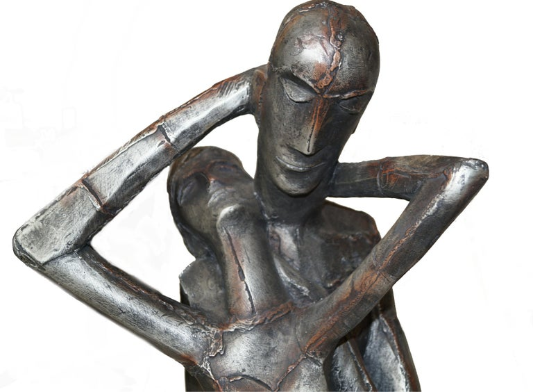 Mid-20th Century Austin Productions Brutalist Large Sculpture Lovers Man Woman Gothic Frakenstein For Sale