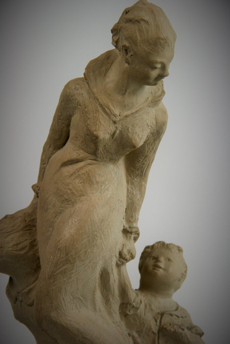 2-303 Mother and small children sculpture on solid walnut wood base by Austin Productions 1978