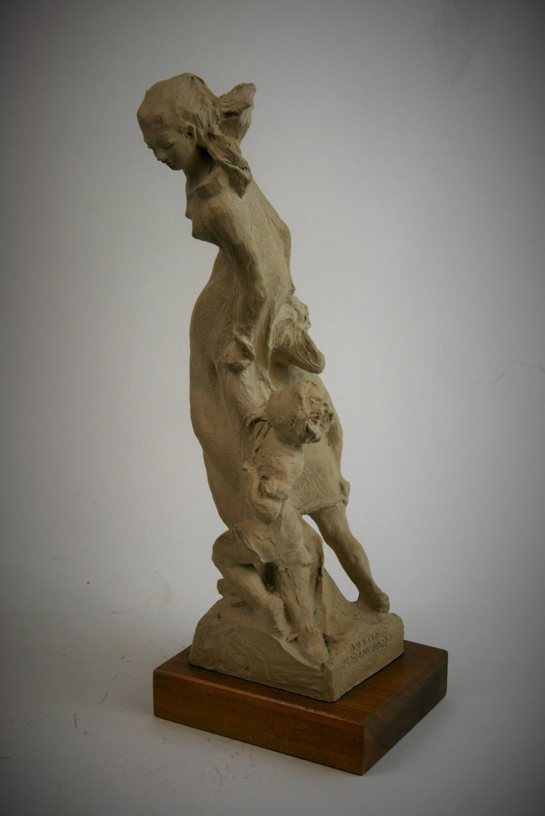 Mother and Small Children Sculpture by Austin Production 1978 For Sale 4