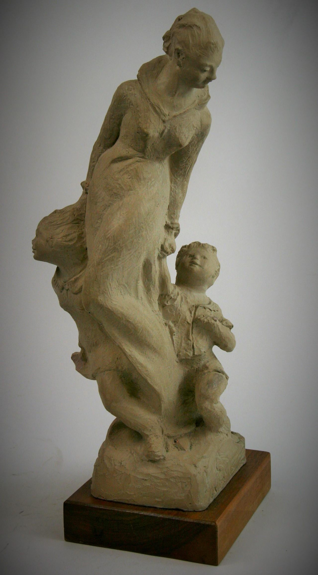 Mother and Small Children Sculpture by Austin Production 1978