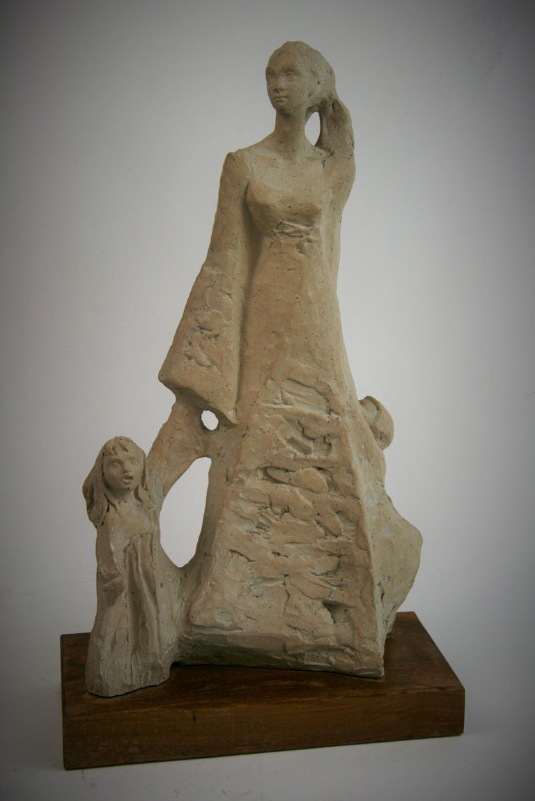 Mother with Children Cast Stone Sculpture  - Gray Figurative Sculpture by Austin Productions