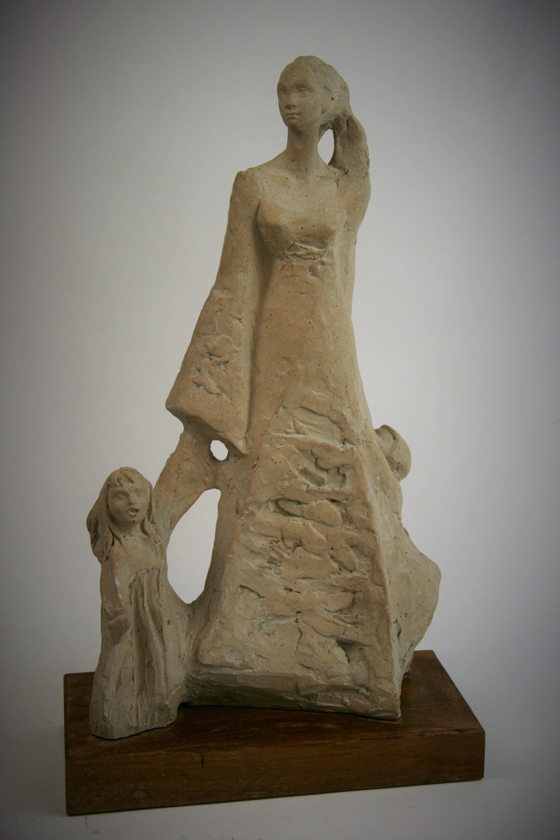 Mother with Children Cast Stone Sculpture
