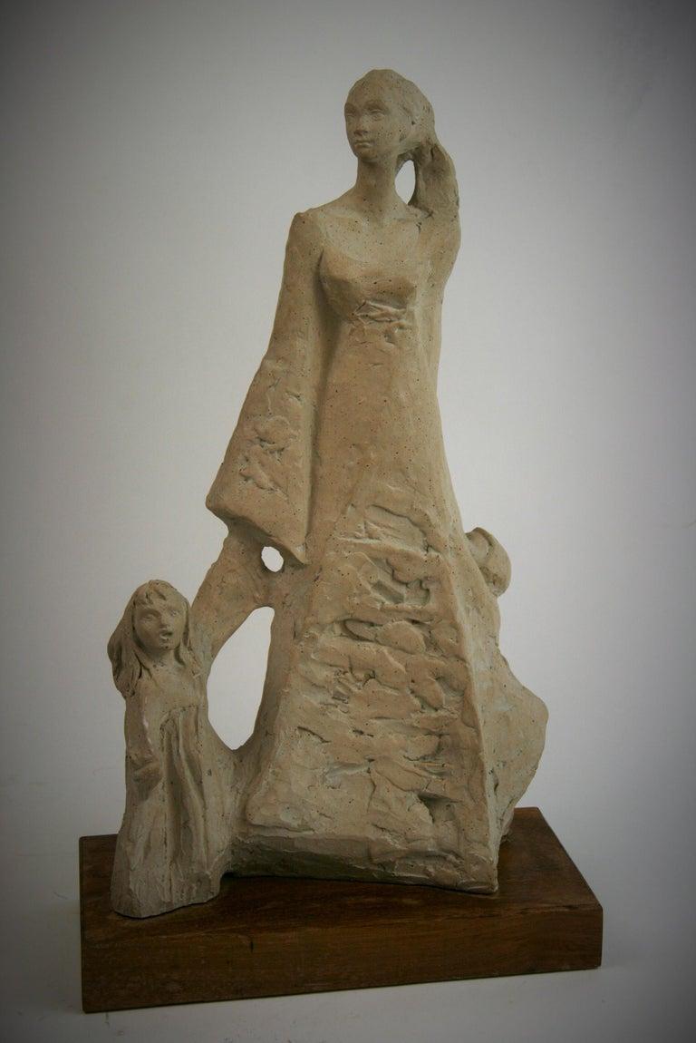 Austin Productions Figurative Sculpture - Mother with Children Cast Stone Sculpture