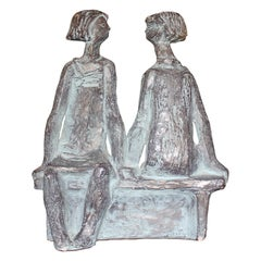 Seated Girls on a Bench Bronze Sculpture