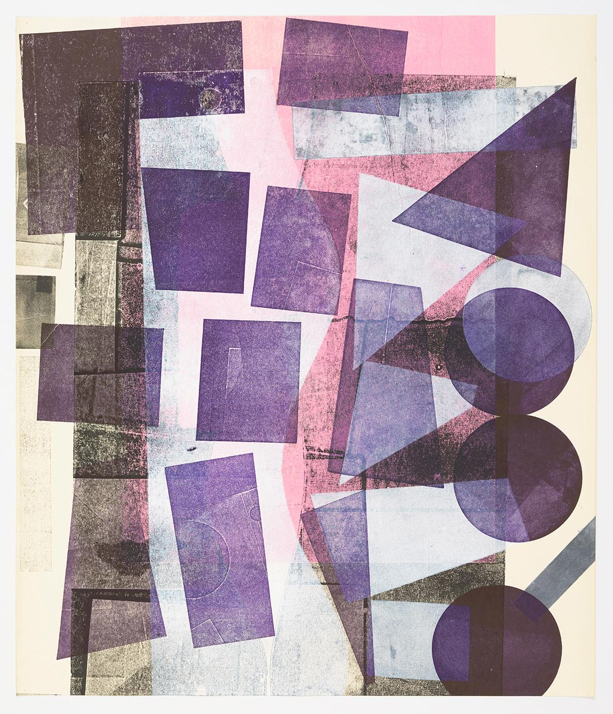 Fading pink, High Purple, White Shapes