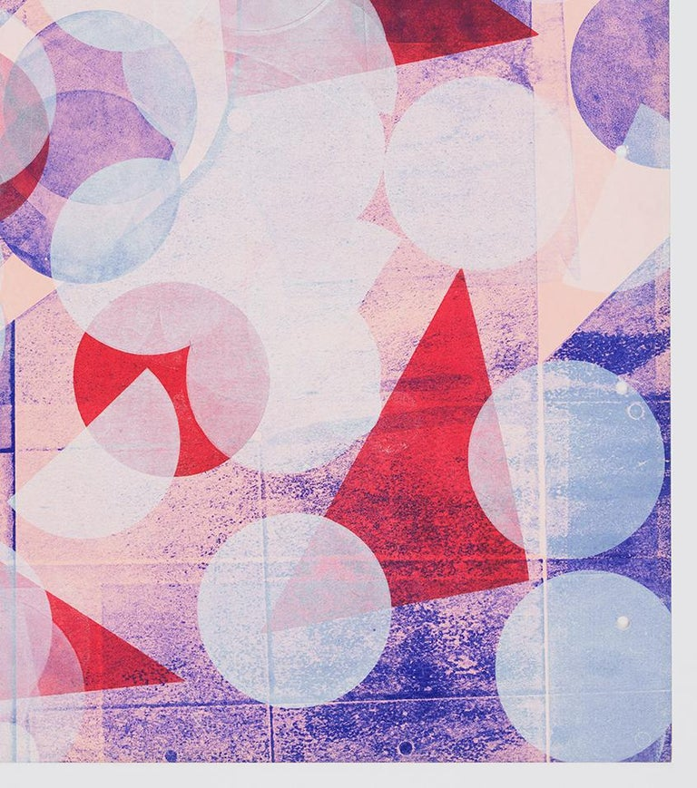 Pink with White Circles (Left Panel) - Abstract Geometric Print by Austin Thomas