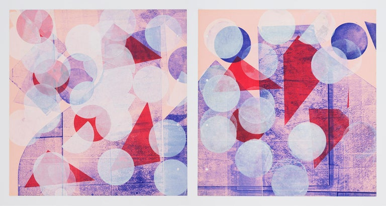 Pink with White Circles (Left Panel) - Gray Abstract Print by Austin Thomas