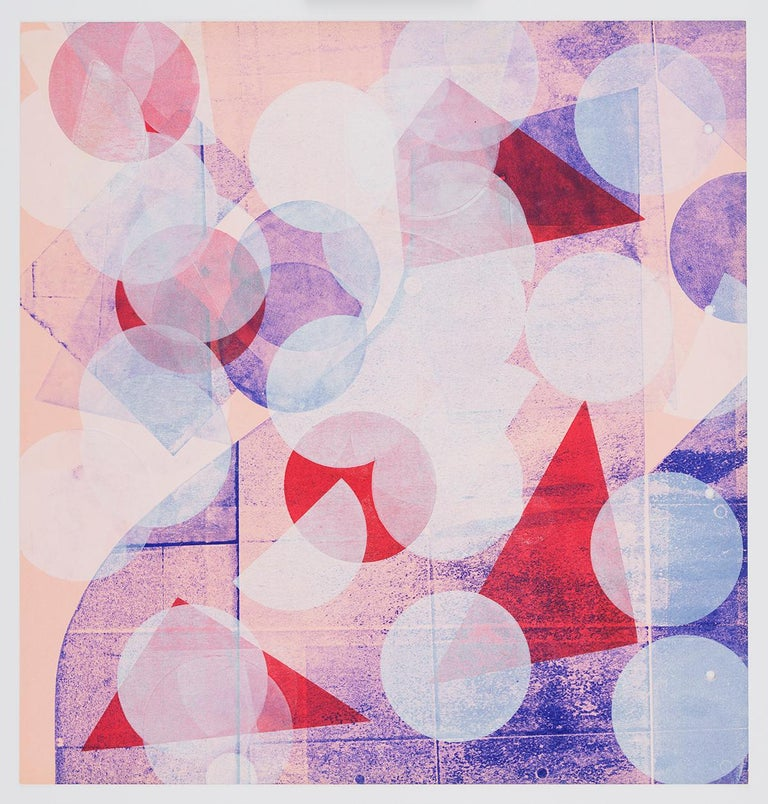 Austin Thomas Abstract Print - Pink with White Circles (Left Panel)