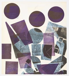 Three Purple Circles at the Top and black forms upon white surfaces