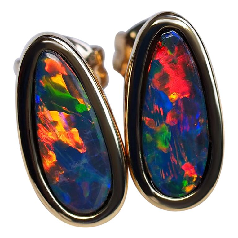 Australain Duplet Opal Earrings in 14 Karat Gold Unisex Egg Stud Black Opal Mens