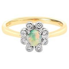 Australian 0.23ct Black Opal and Diamond Ring in 18k Yellow Gold