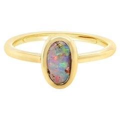 Australian 0.85ct Boulder Opal Ring in 18k Yellow Gold